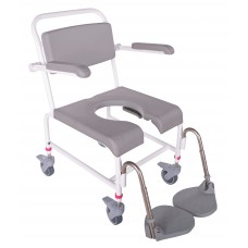M2 Bade/toiletstol med skubbebøjle, inkl. PU skum på armlæn